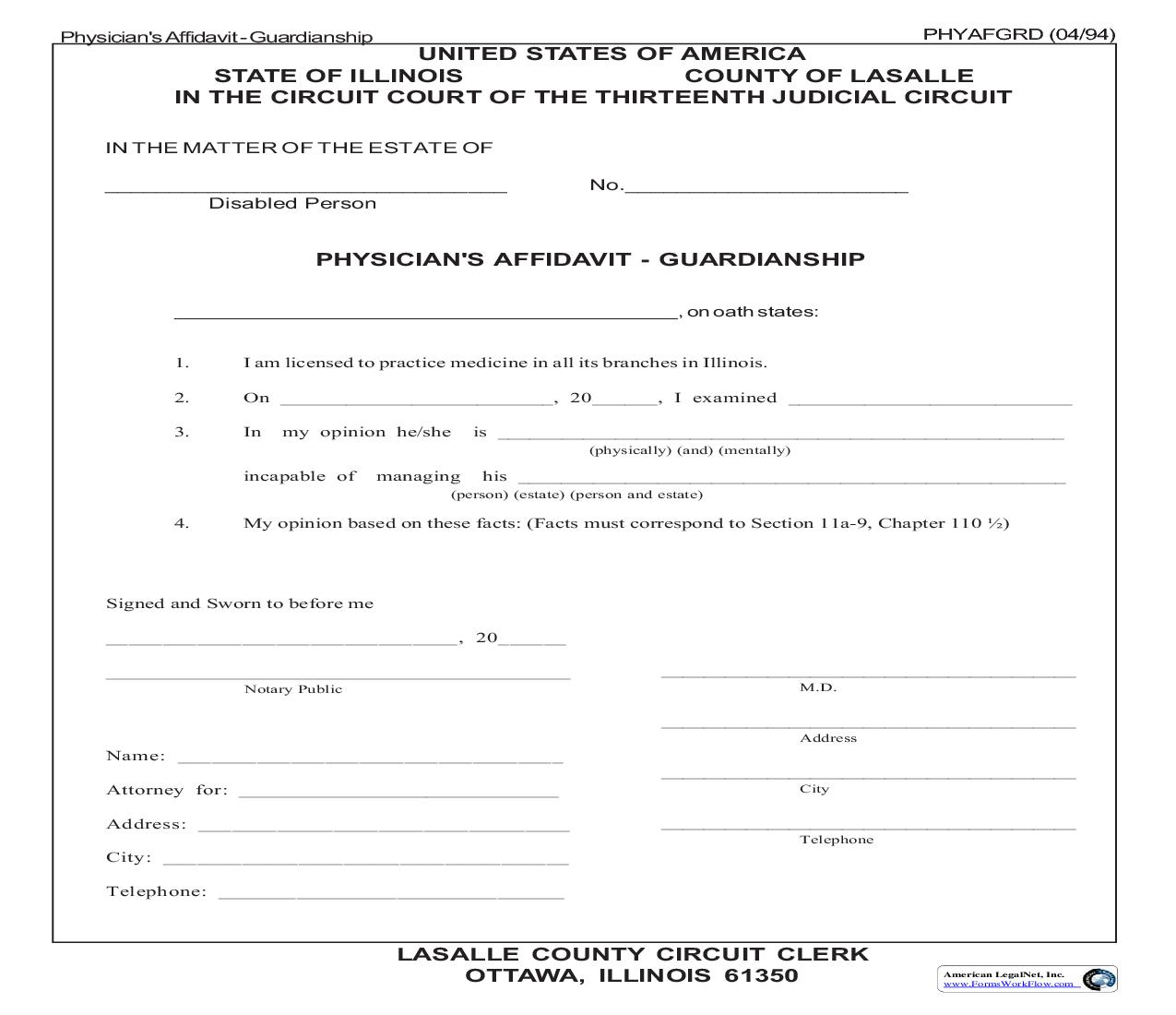 Physicians Affidavit - Guardianship | Pdf Fpdf Doc Docx | Illinois