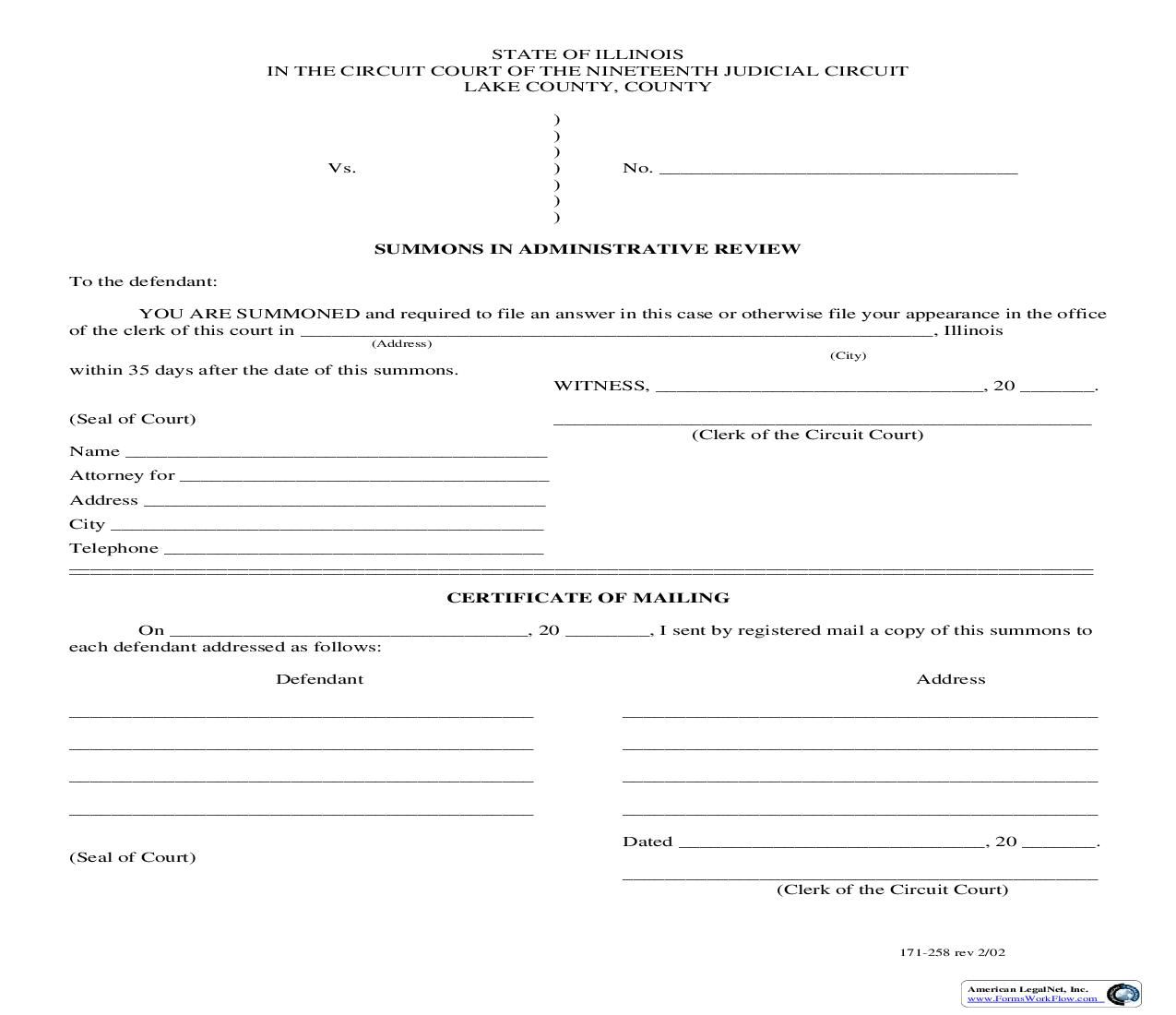 Summons In Administrative Review {171-258} | Pdf Fpdf Doc Docx | Illinois