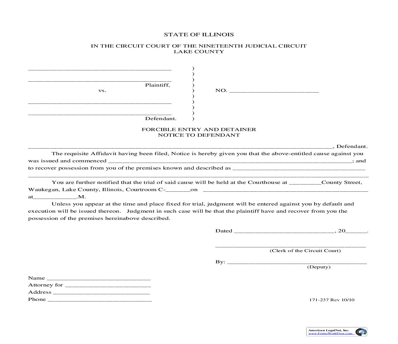 Forcible Entry And Detainer Notice To Defendant {171-237} | Pdf Fpdf Doc Docx | Illinois