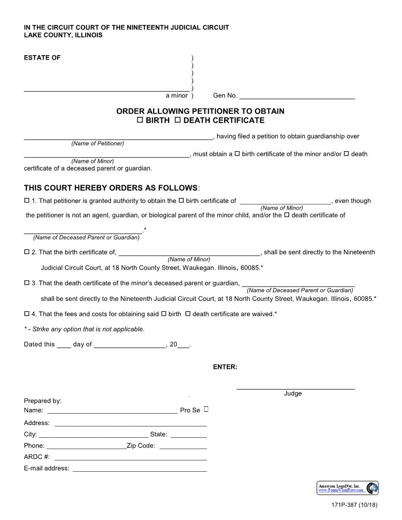 Order Allowing Petitioner To Obtain Birth Or Death Certificate {171P-387} | Pdf Fpdf Docx | Illinois