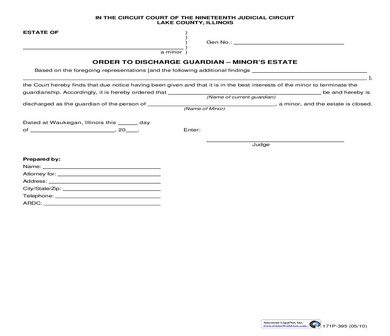 Order To Discharge Guardian Minors Estate {171P-395} | Pdf Fpdf Doc Docx | Illinois