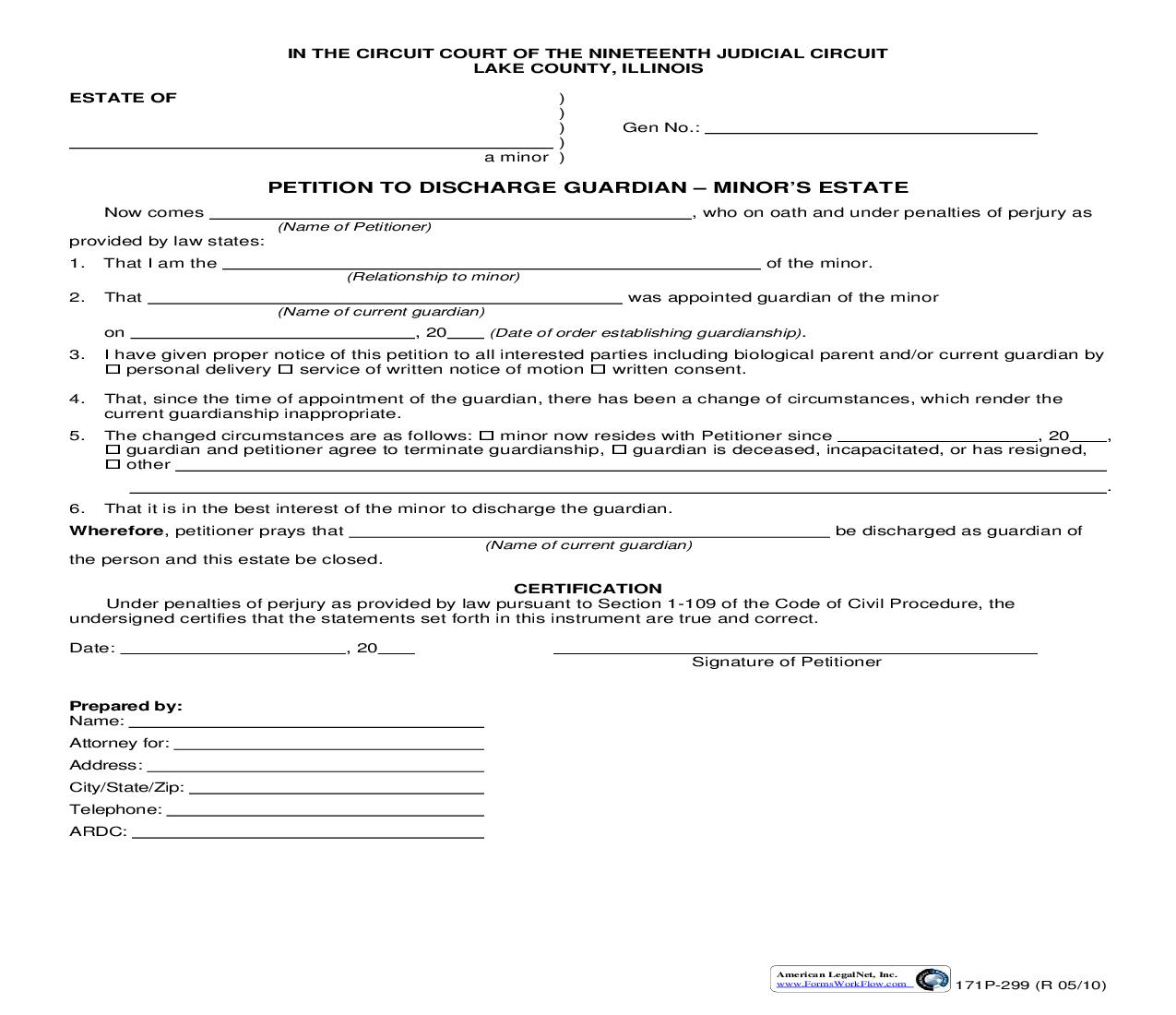 Petition To Discharge Guardian Minors Estate {171P-299} | Pdf Fpdf Doc Docx | Illinois