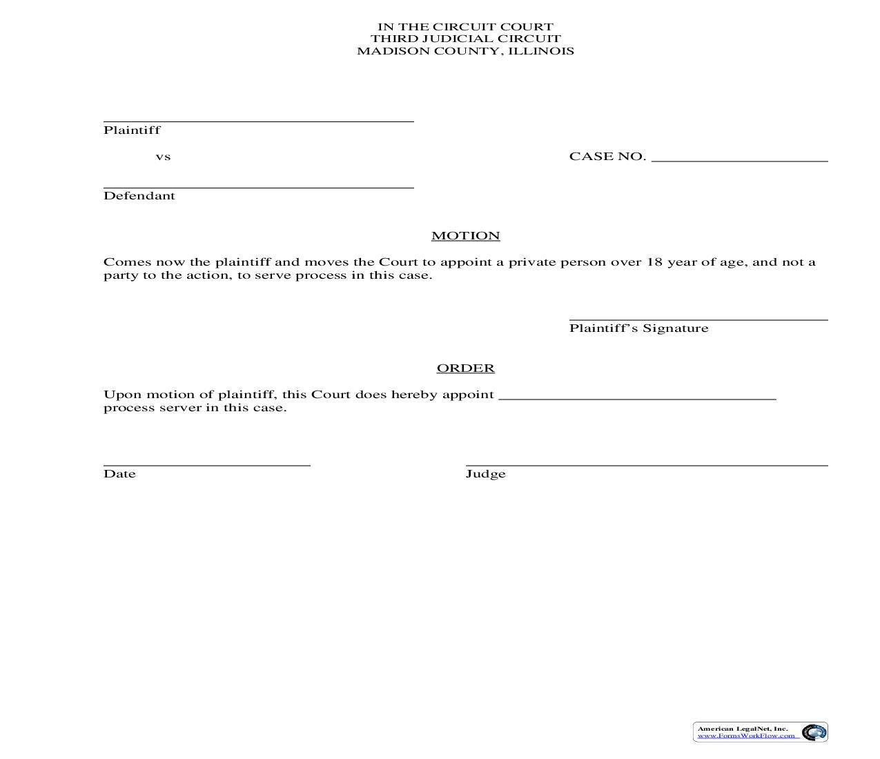 Motion To Appoint Private Process Server   Pdf Fpdf Doc Docx   Illinois