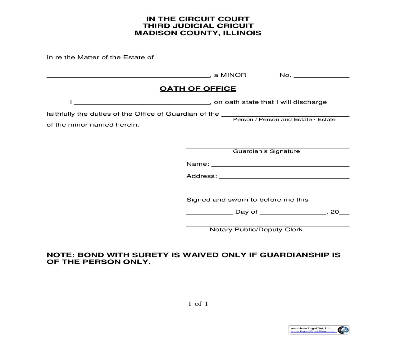 Oath Of Office (Minor Guardian) | Pdf Fpdf Doc Docx | Illinois