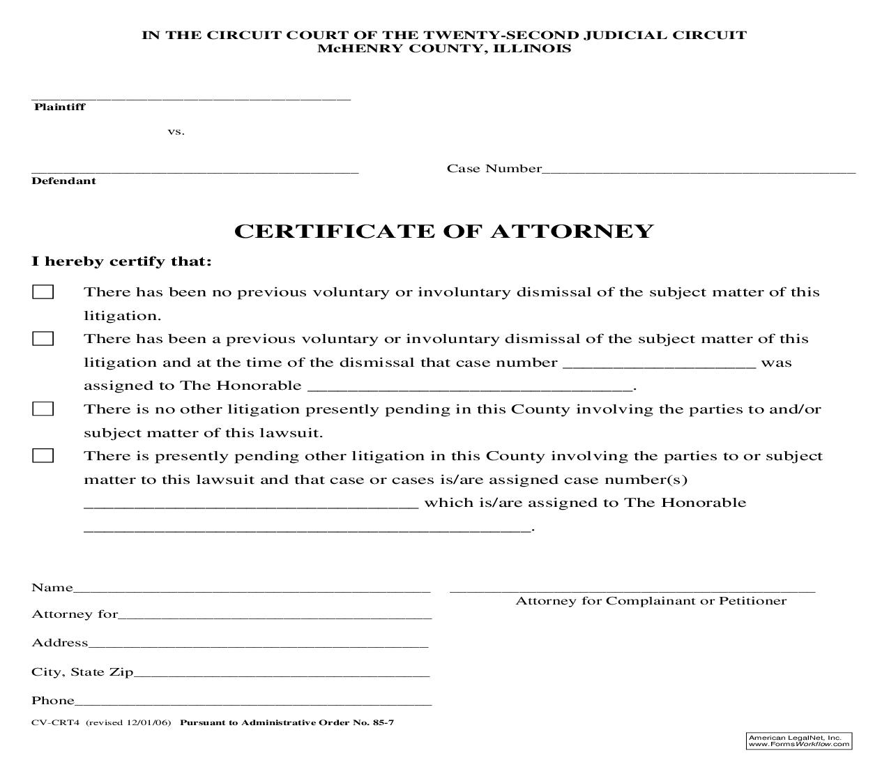 Certificate Of Attorney {CV-CRT4} | Pdf Fpdf Doc Docx | Illinois