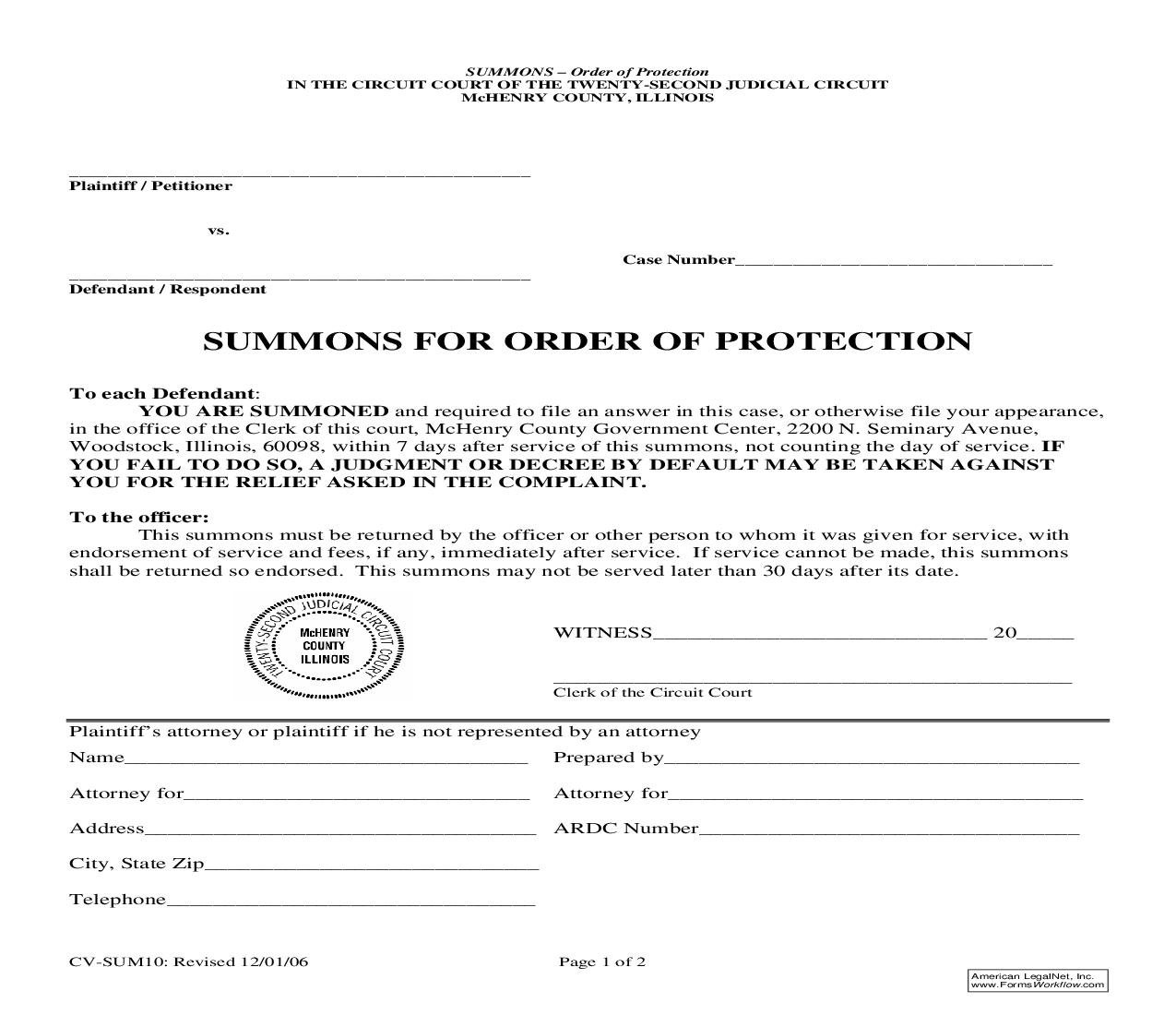 Summons For Order Of Protection {SUM10} | Pdf Fpdf Doc Docx | Illinois