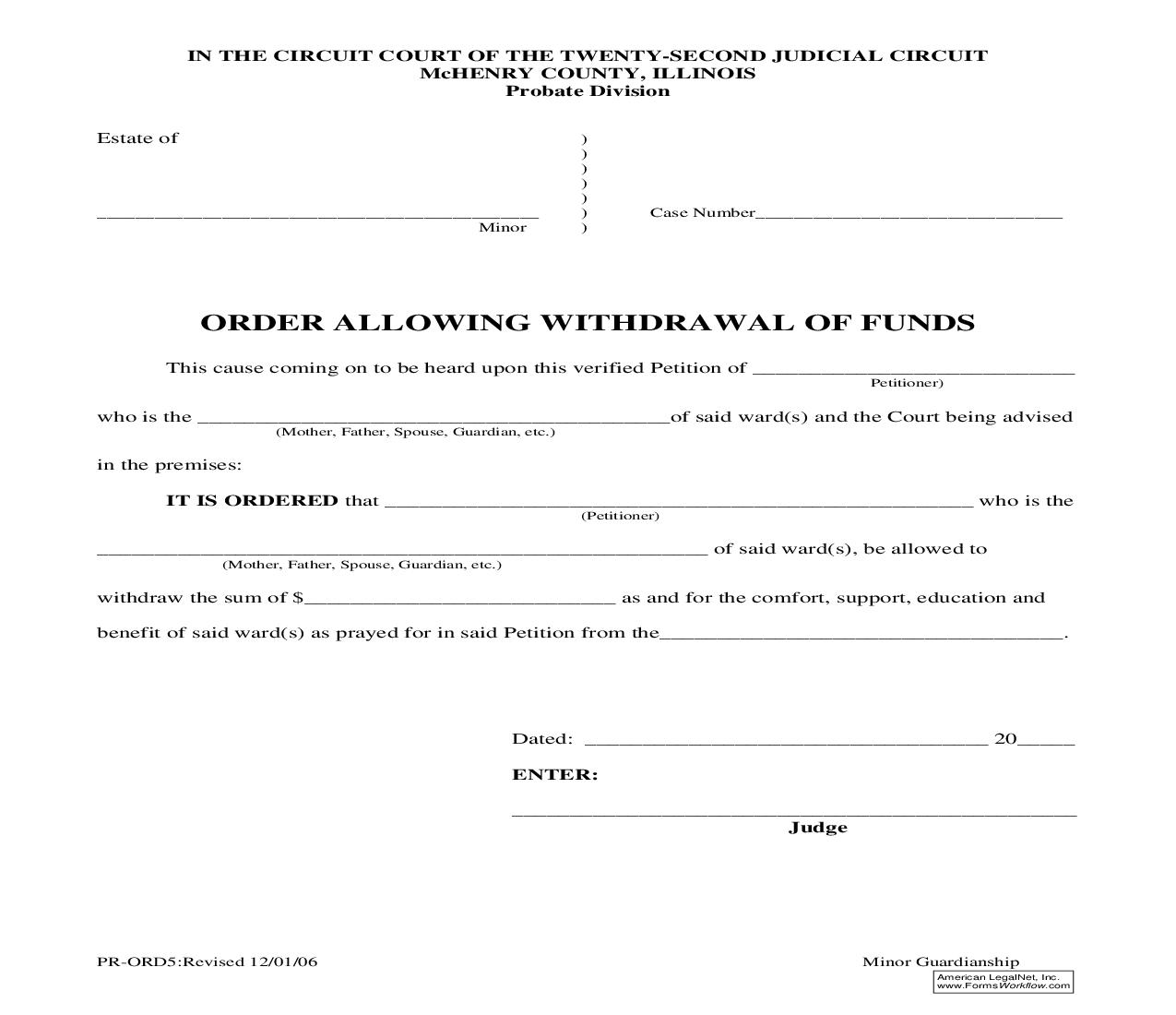 Order Allowing Withdrawal Of Funds {PR-ORD5} | Pdf Fpdf Doc Docx | Illinois