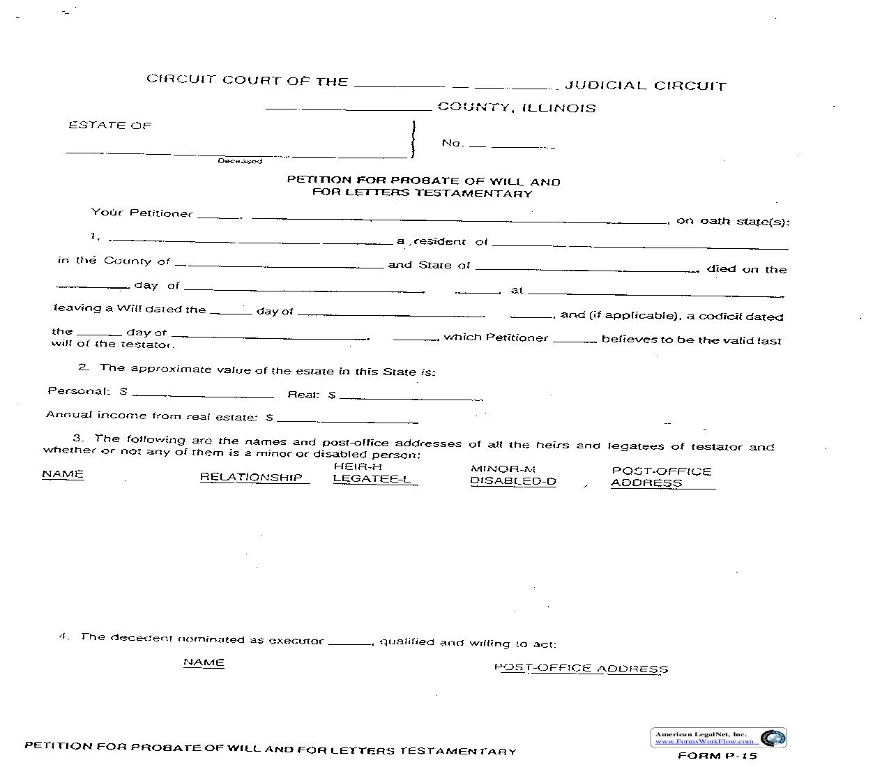 Petition For Probate Of Will And For Letters Testamentary {P-15}   Pdf Fpdf Doc Docx   Illinois