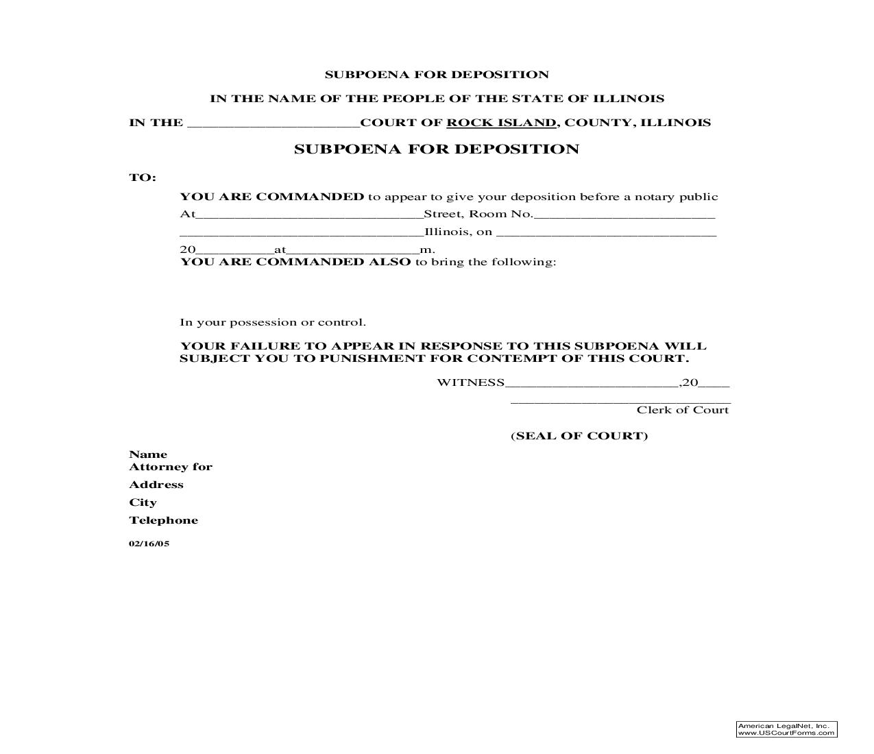 Subpoena For Deposition | Pdf Fpdf Doc Docx | Illinois