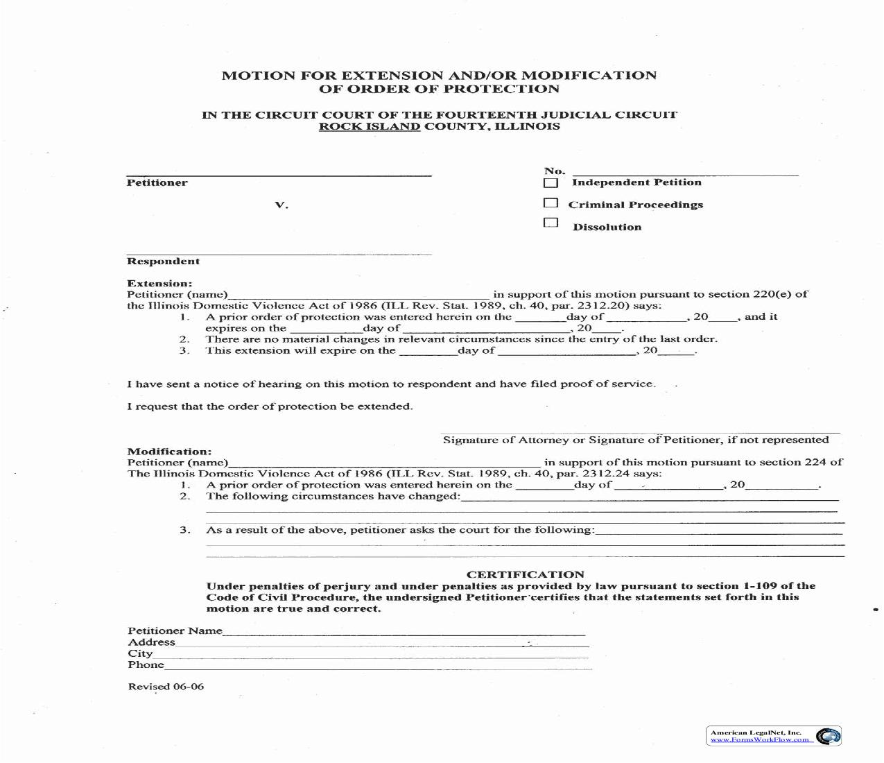 Motion For Extension And Or Modification Of Order Of Protection   Pdf Fpdf Doc Docx   Illinois