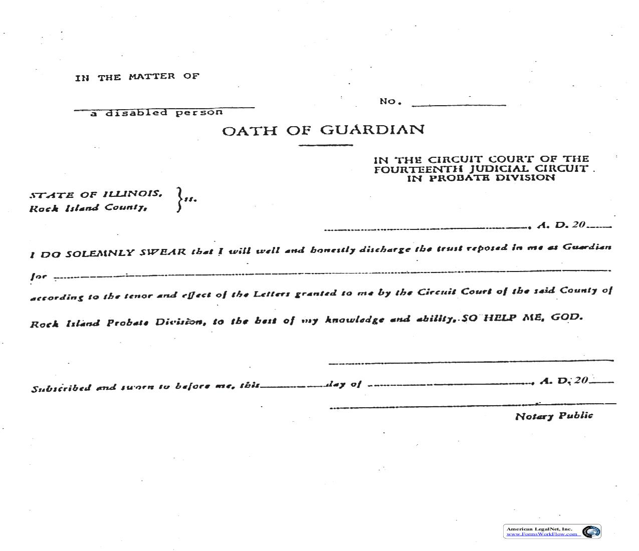 Oath Of Guardian Disabled Person | Pdf Fpdf Doc Docx | Illinois