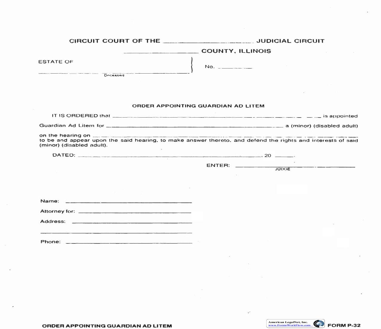 Order Appointing Guardian Ad Litem {P-32} | Pdf Fpdf Doc Docx | Illinois
