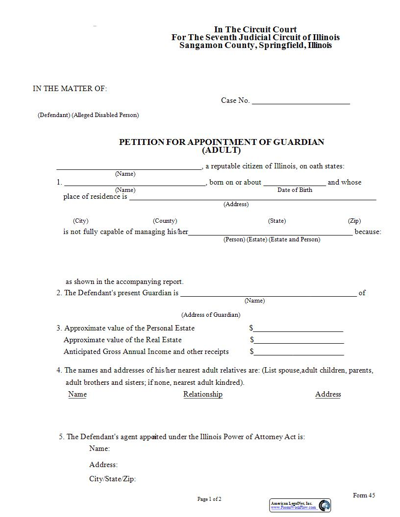 Petition For Appointment Of Guardian (Adult) | Pdf Fpdf Doc Docx | Illinois