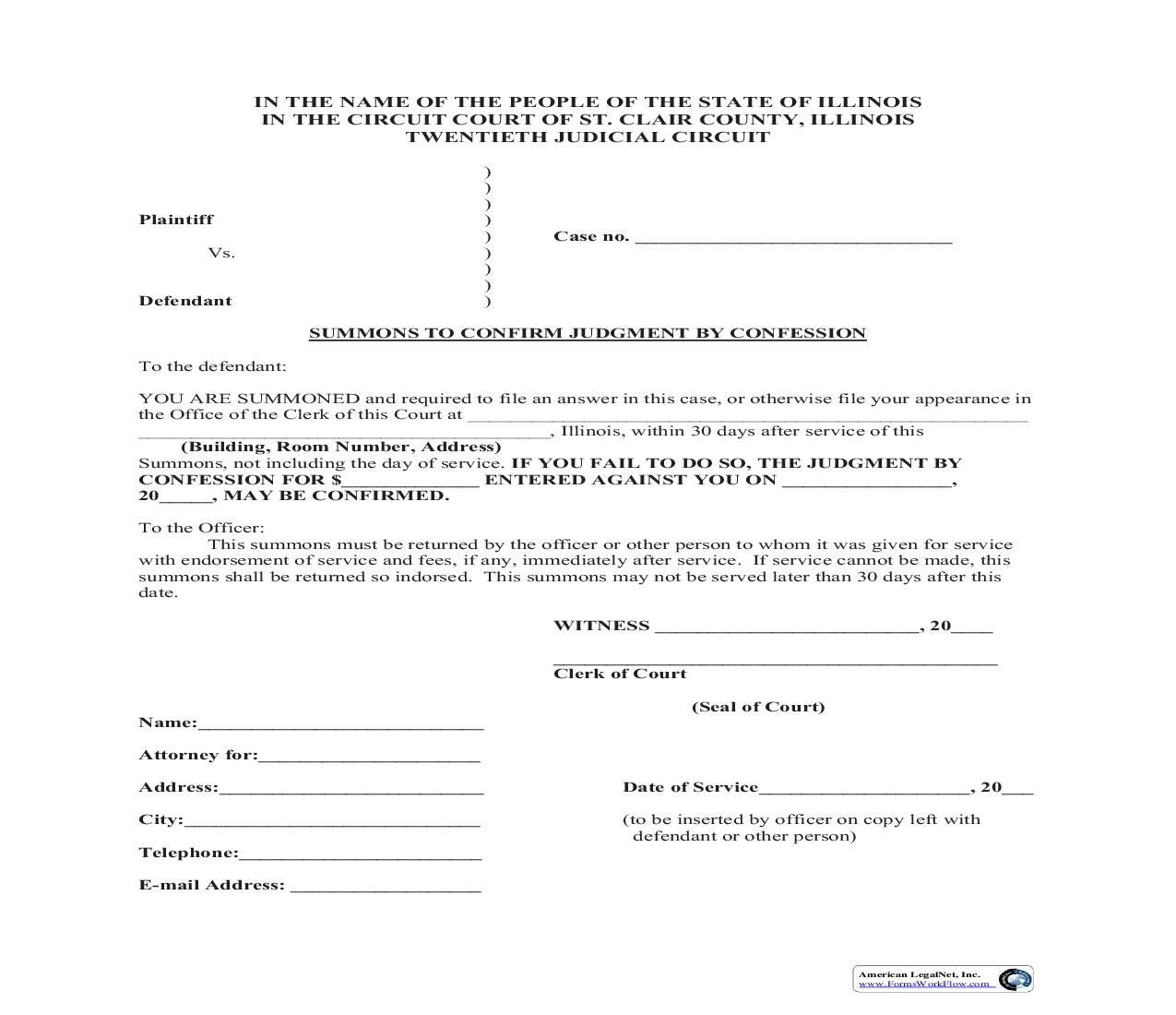 Summons To Confirm Judgment By Confession | Pdf Fpdf Doc Docx | Illinois
