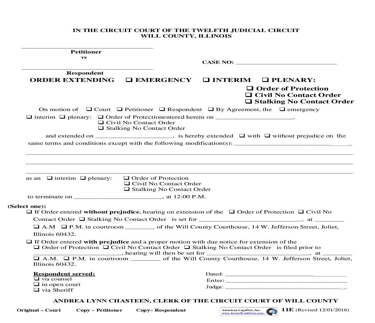 Order Extending Emergency Interim Or Plenary Order Of Protection Or Civil No Contact Order {11E} | Pdf Fpdf Doc Docx | Illinois
