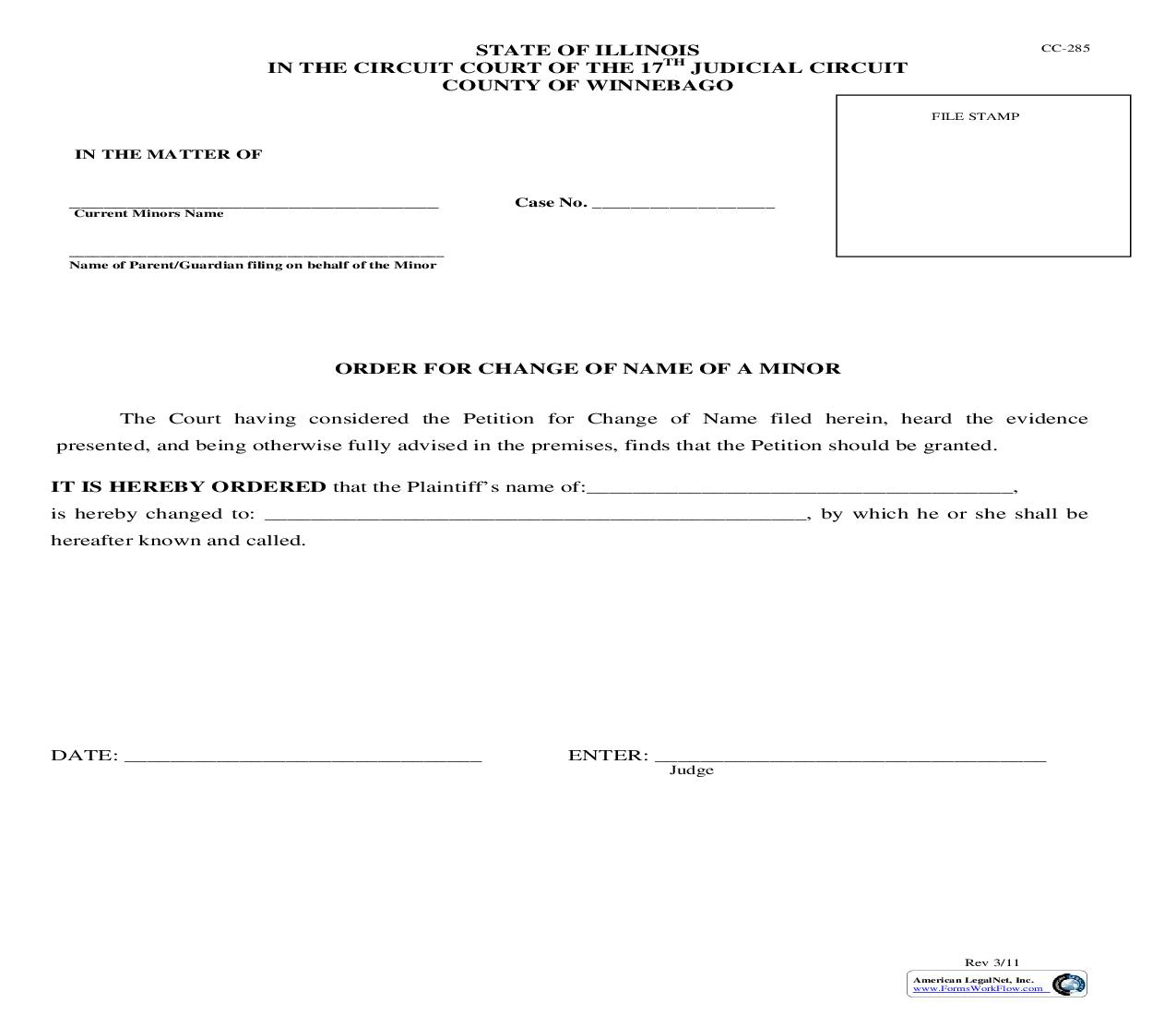 Order For Change Of Name Of Minor {CC-285} | Pdf Fpdf Doc Docx | Illinois