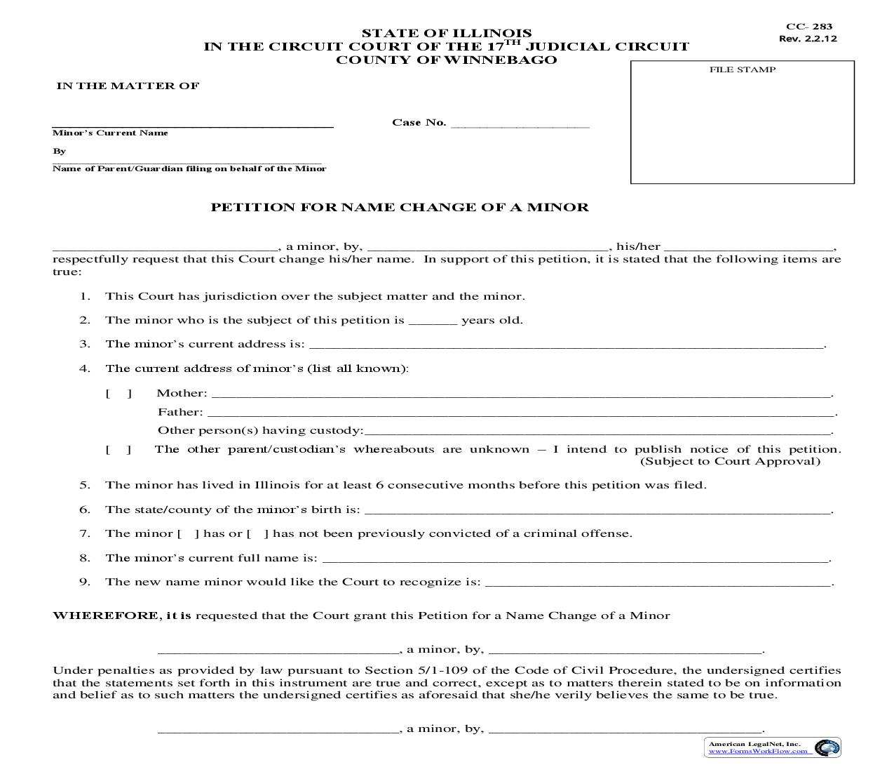 Petition For Name Change Of A Minor {CC-283} | Pdf Fpdf Doc Docx | Illinois