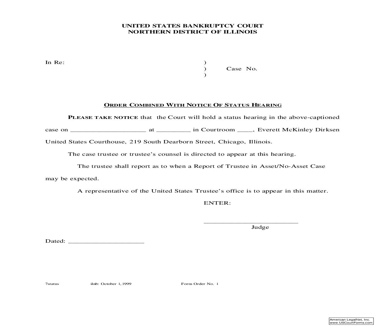 Order Combined With Notice Of Status Hearing {1} | Pdf Fpdf Doc Docx | Illinois