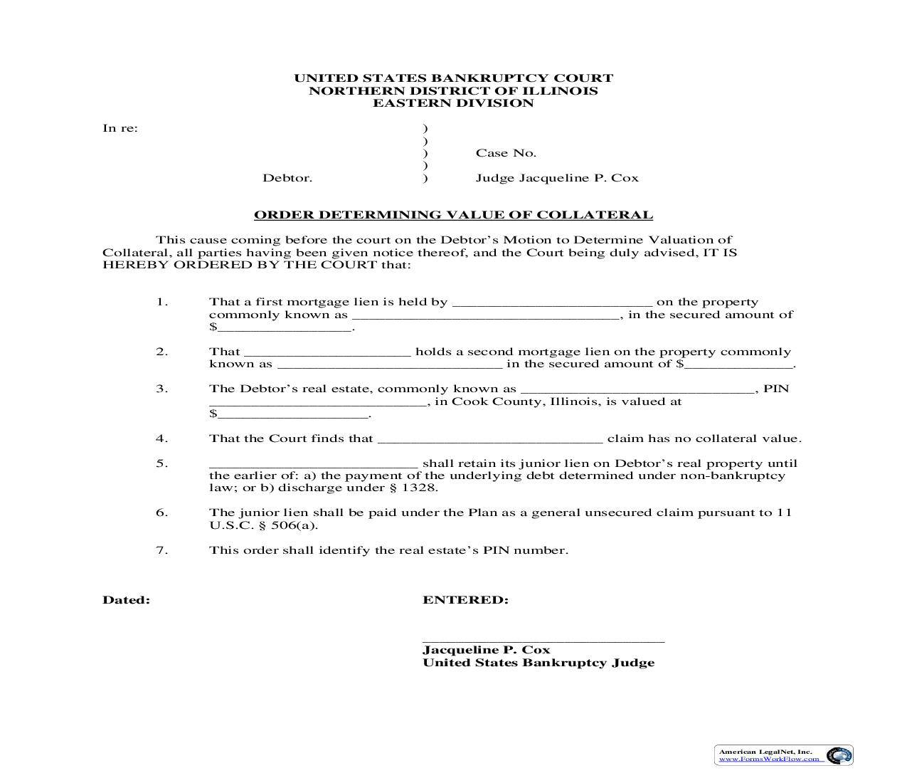 Order Determining Value Of Collateral (Judge Cox) | Pdf Fpdf Doc Docx | Illinois