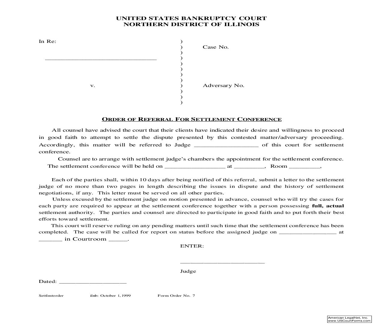 Order Of Referral For Settlement Conference {7} | Pdf Fpdf Doc Docx | Illinois