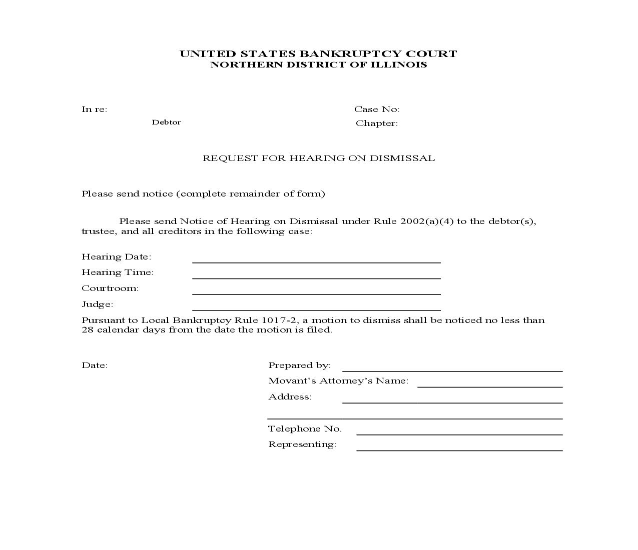 Request For Hearing On Dismissal-Chapter 7 | Pdf Fpdf Doc Docx | Illinois