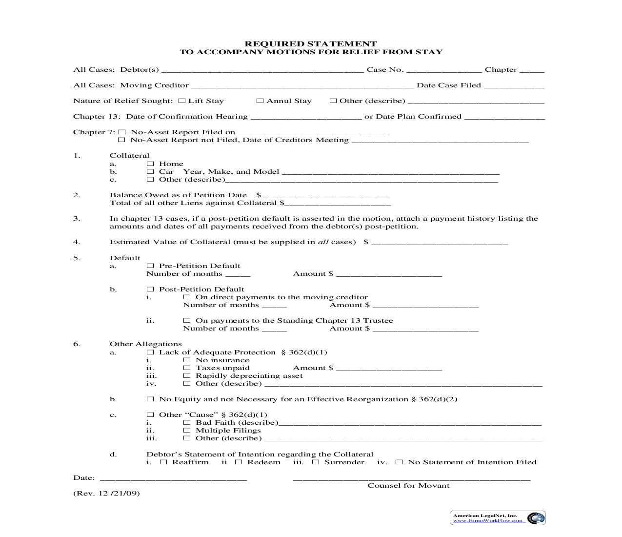 Required Statement To Accompany All Motions For Relief From Stay | Pdf Fpdf Doc Docx | Illinois