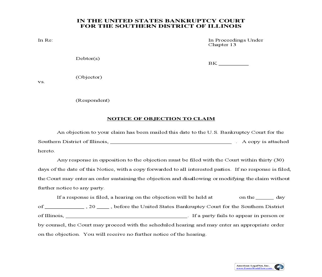 Notice Of Objection To Claim | Pdf Fpdf Doc Docx | Illinois