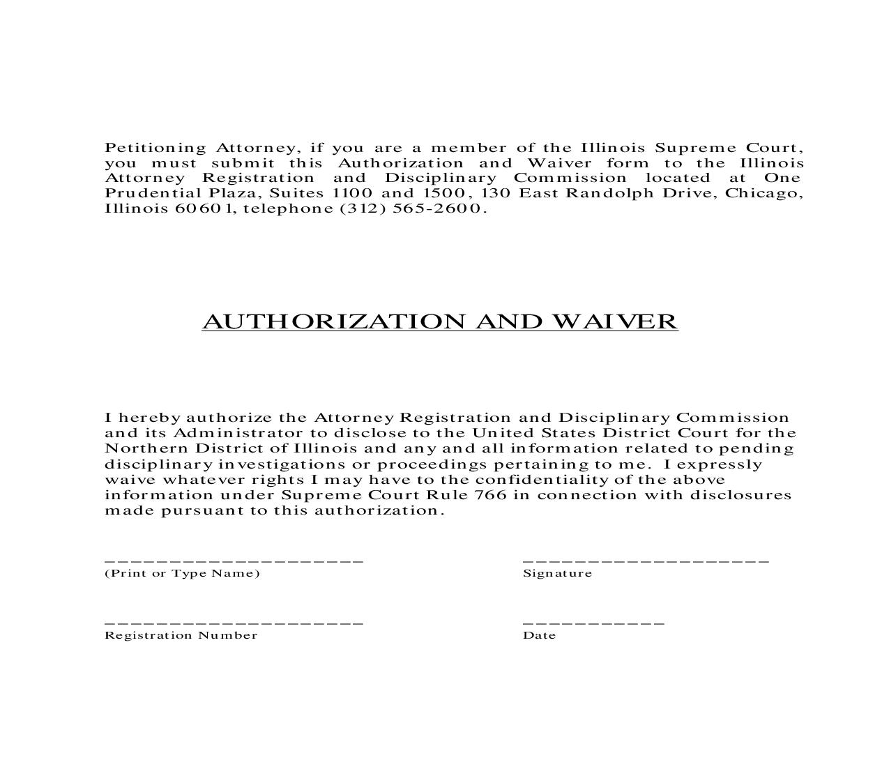 Authorization And Waiver | Pdf Fpdf Doc Docx | Illinois