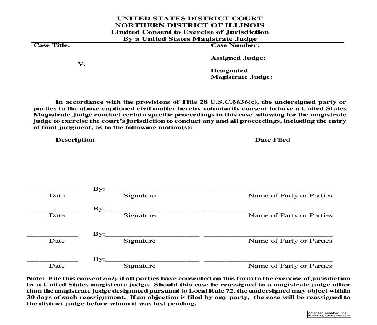 Limited Consent To Exercise Of Jurisdiction | Pdf Fpdf Doc Docx | Illinois