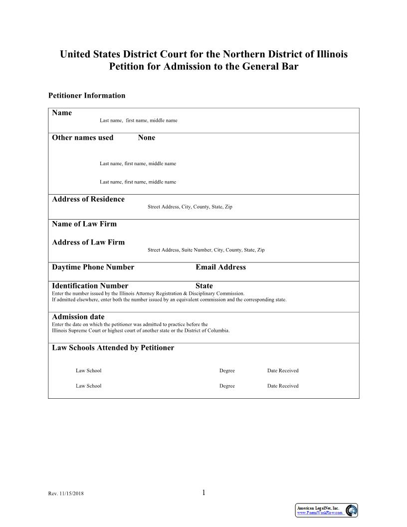 Petition For Admission To The General Bar | Pdf Fpdf Docx | Illinois