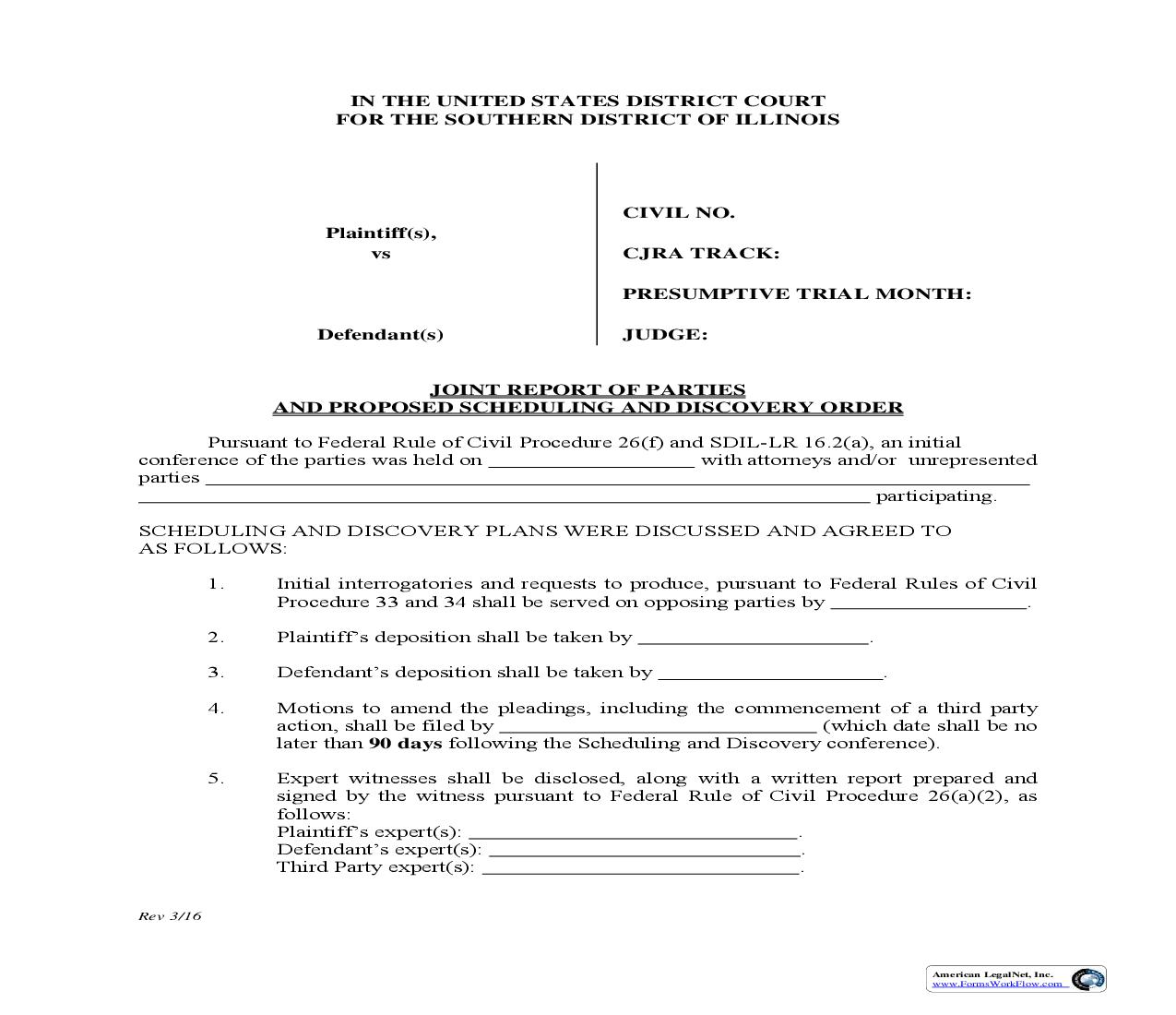 Joint Report Of Parties And Proposed Scheduling And Discovery Order   Pdf Fpdf Doc Docx   Illinois