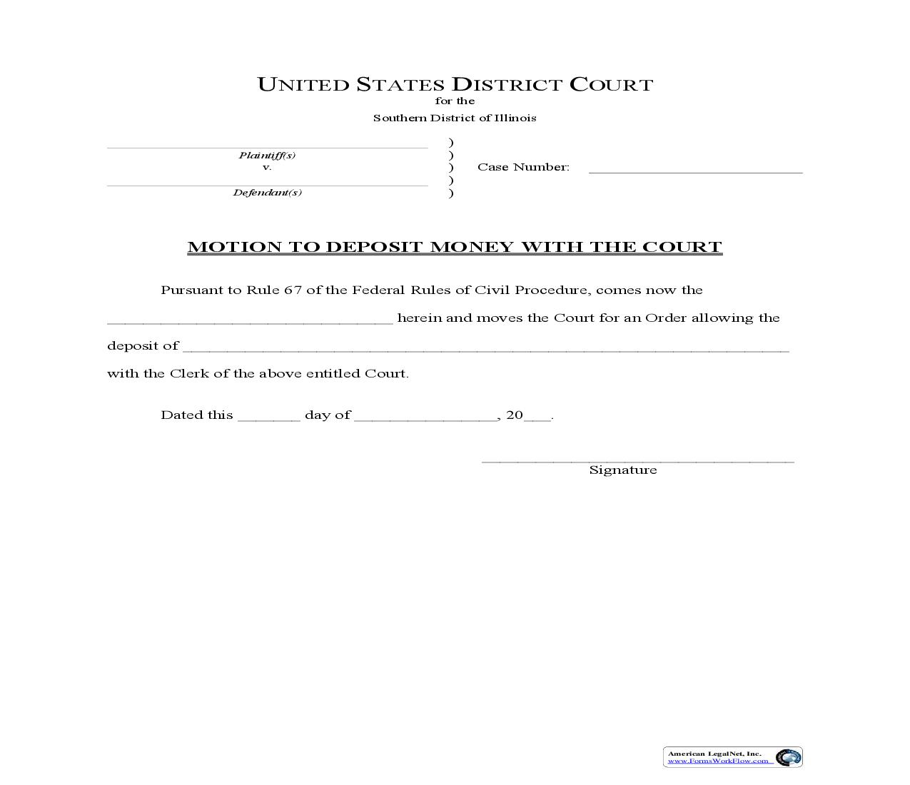 Motion To Deposit Money With Court | Pdf Fpdf Doc Docx | Illinois