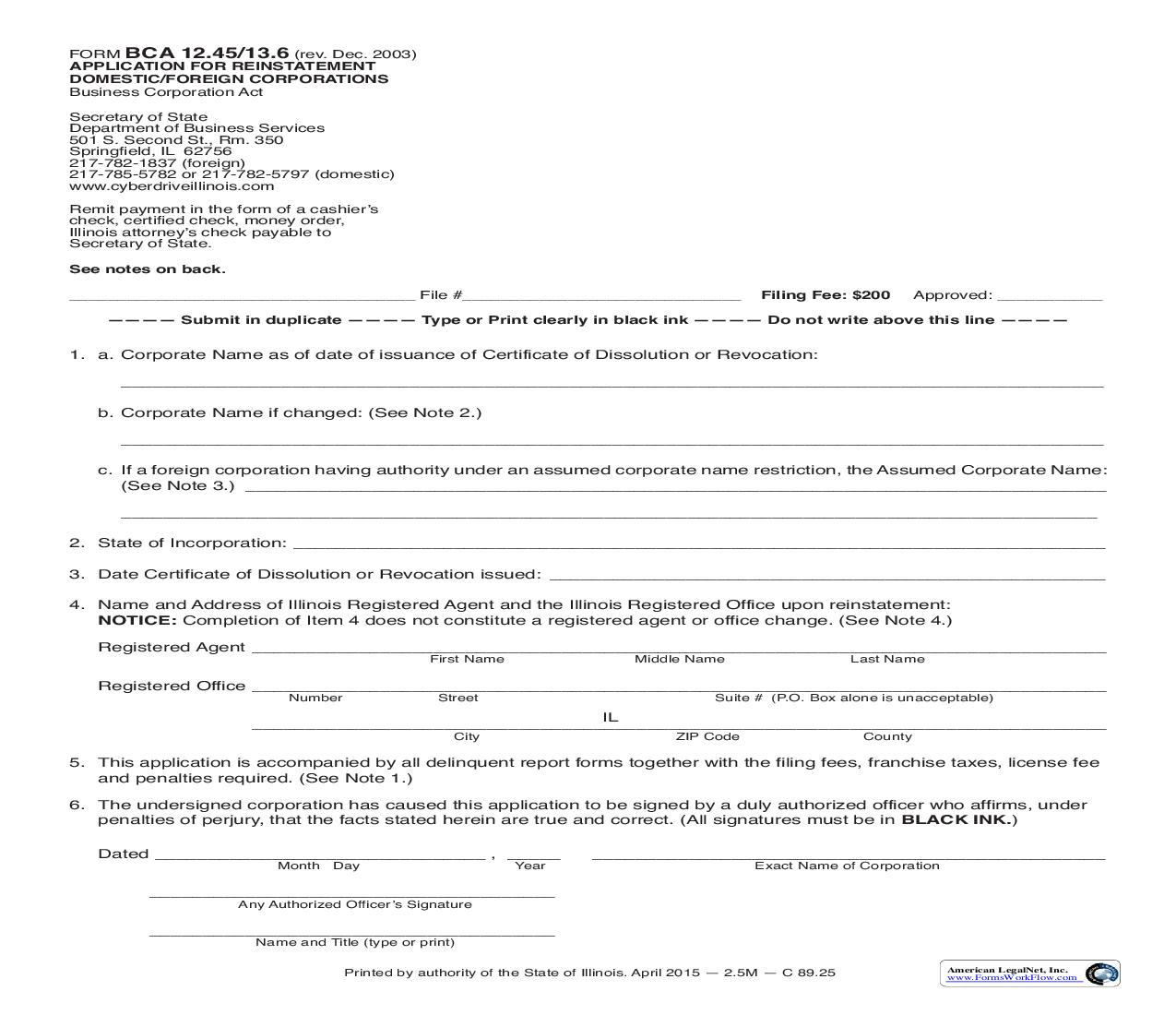 Application For Reinstatement Of Domestic Or Foreign Corporation {BCA-12.45-13.6}   Pdf Fpdf Doc Docx   Illinois