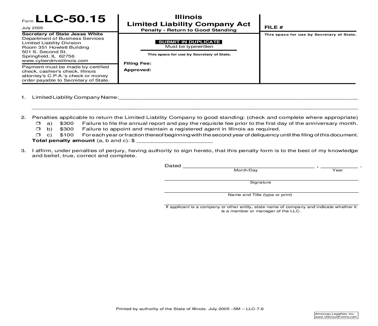 Penalty Return To Good Standing {LLC-50.15} | Pdf Fpdf Doc Docx | Illinois