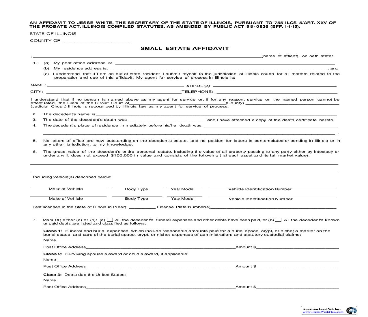 Small Estate Affidavit {RTOPR 31} | Pdf Fpdf Doc Docx | Illinois