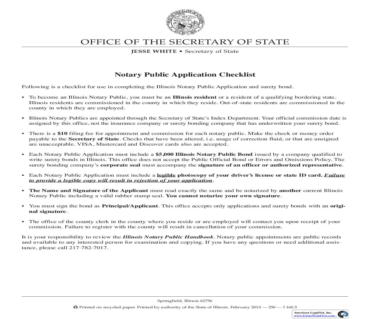 Notary Public Application Checklist And Credit Card Transaction Form | Pdf Fpdf Doc Docx | Illinois