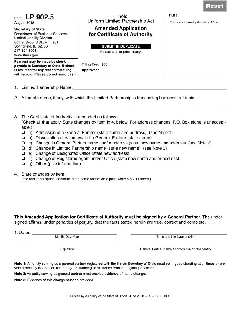 Amended Application For Certificate Of Authority {LP 902.5} | Pdf Fpdf Docx | Illinois