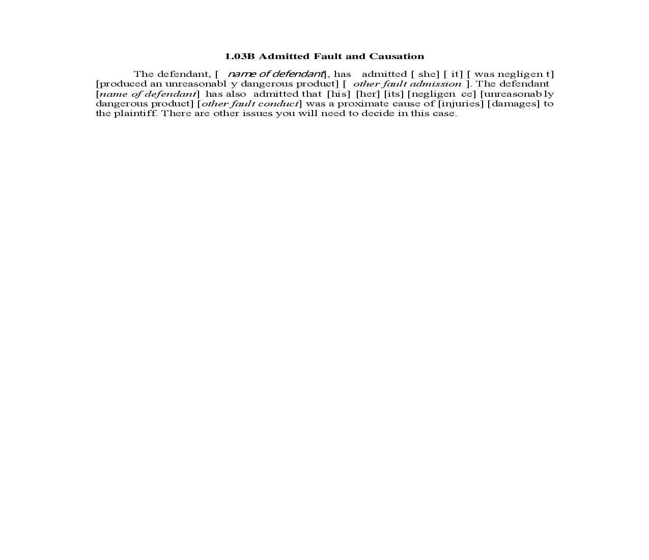 1.03B. Admitted Fault and Causation | Pdf Doc Docx | Illinois_JI