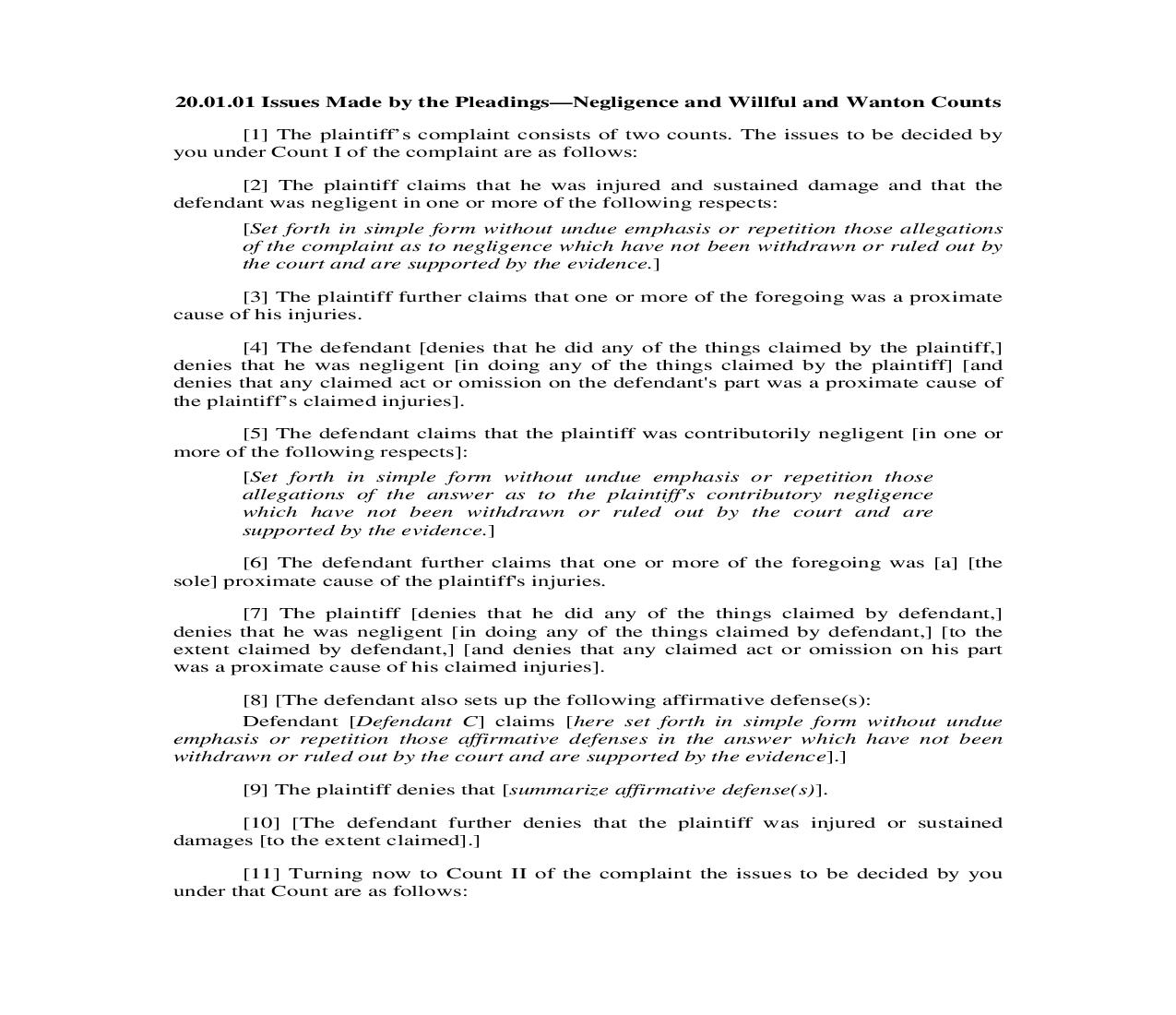 20.01.01. Issues Made By The Pleadings-Negligence and Willful and Wanton Counts   Pdf Doc Docx   Illinois_JI