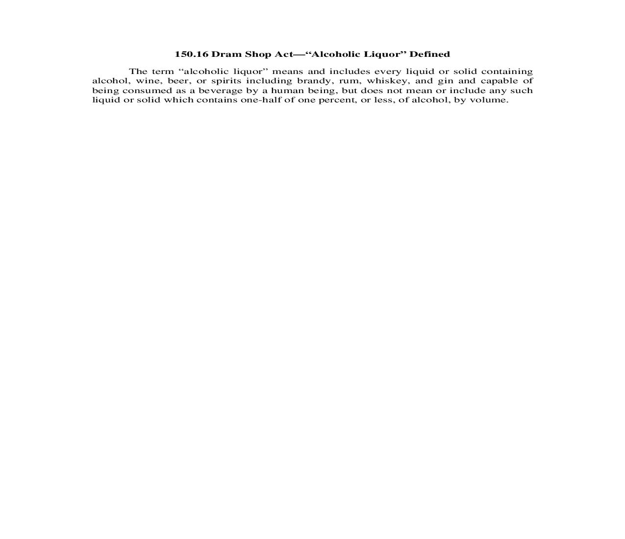 150.16. Dram Shop Act-Alcoholic Liquor Defined | Pdf Doc Docx | Illinois_JI