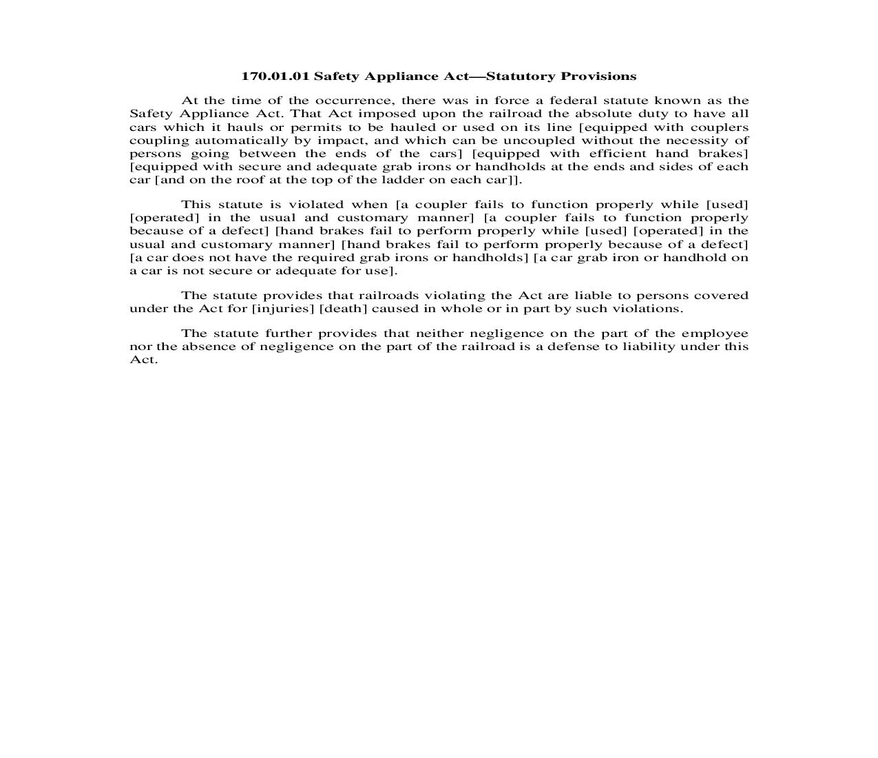 170.01.02. Safety Appliance Act-Issues Made by the Pleadings | Pdf Doc Docx | Illinois_JI