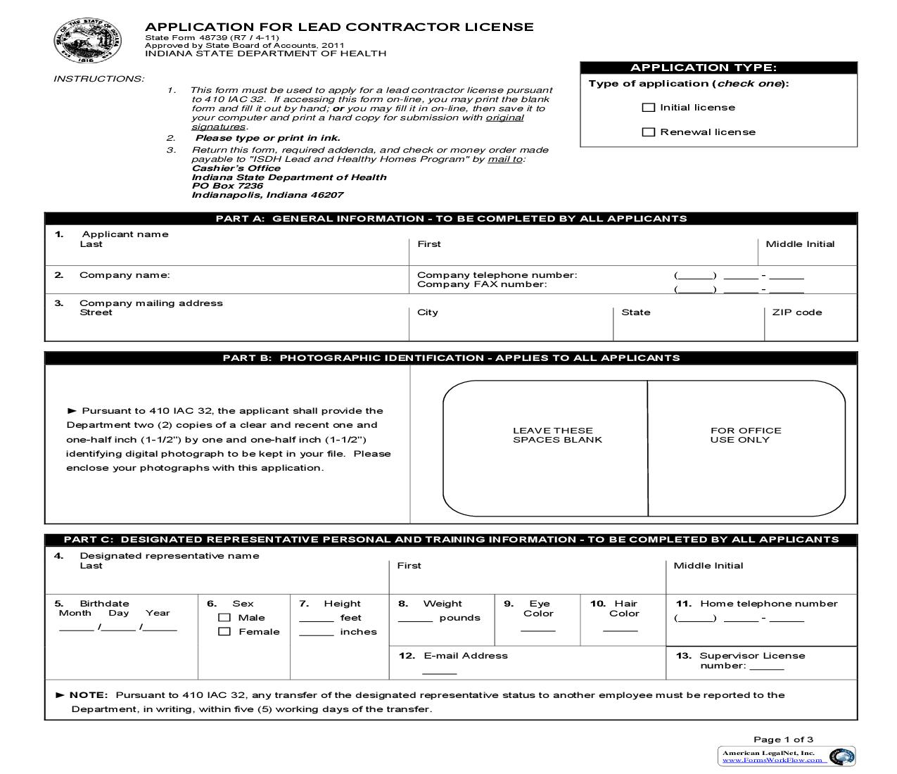 Application For Lead Contractor {48739} | Pdf Fpdf Doc Docx | Indiana