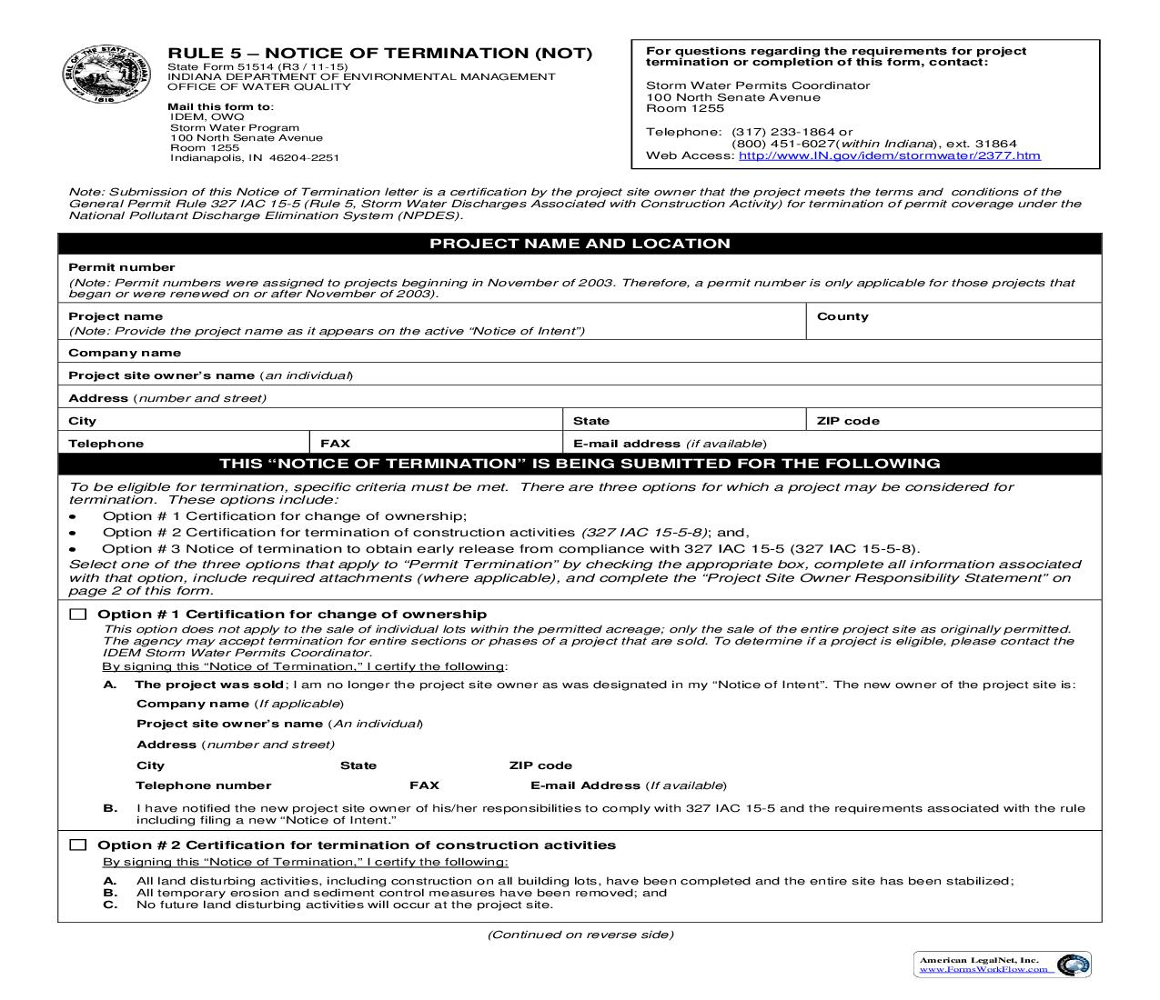 Rule 5 Notice Of Termination (NOT) {51514}      Indiana
