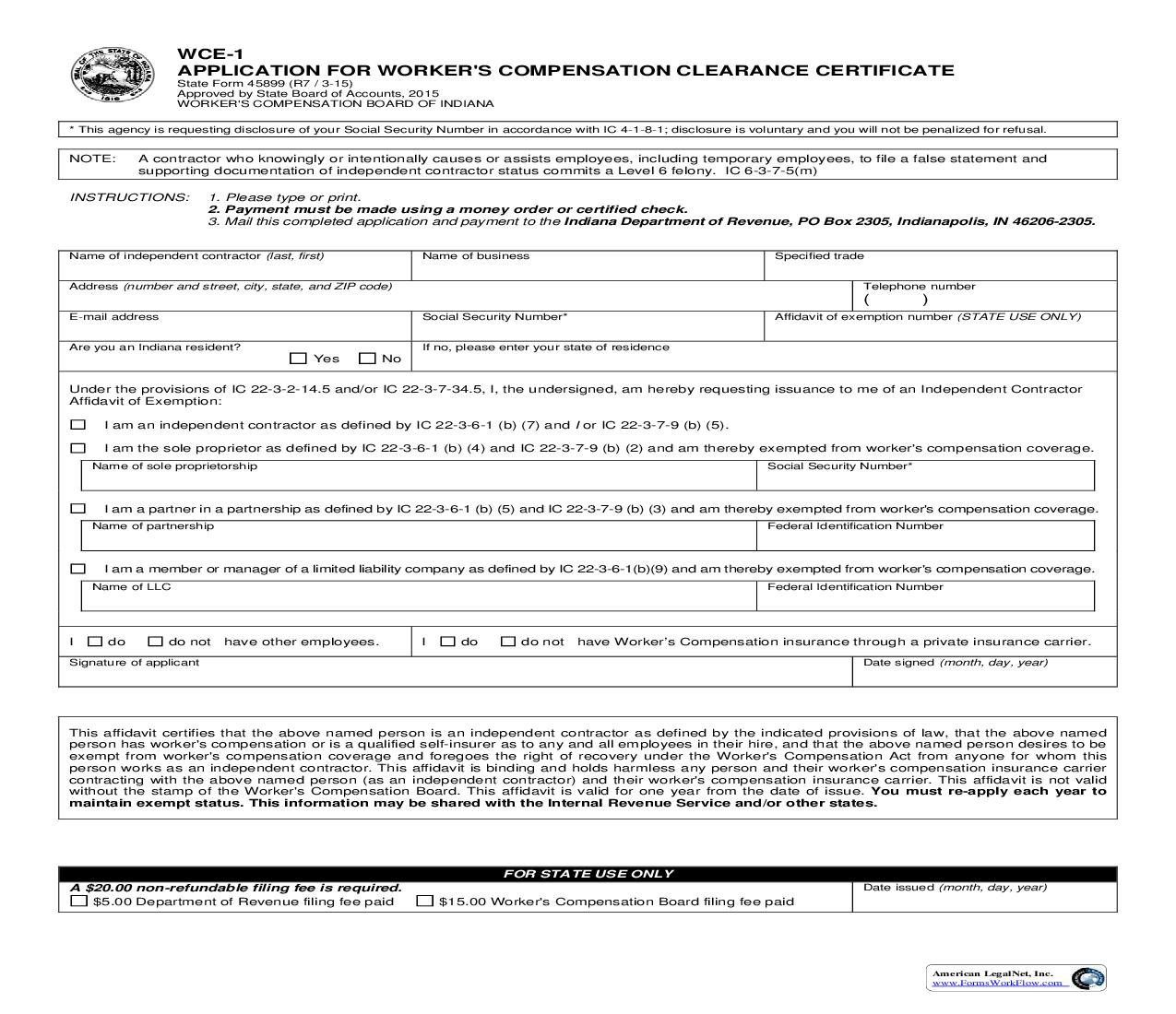 Application For Workers Compensation Clearance Certificate  {WCE-1}      Indiana
