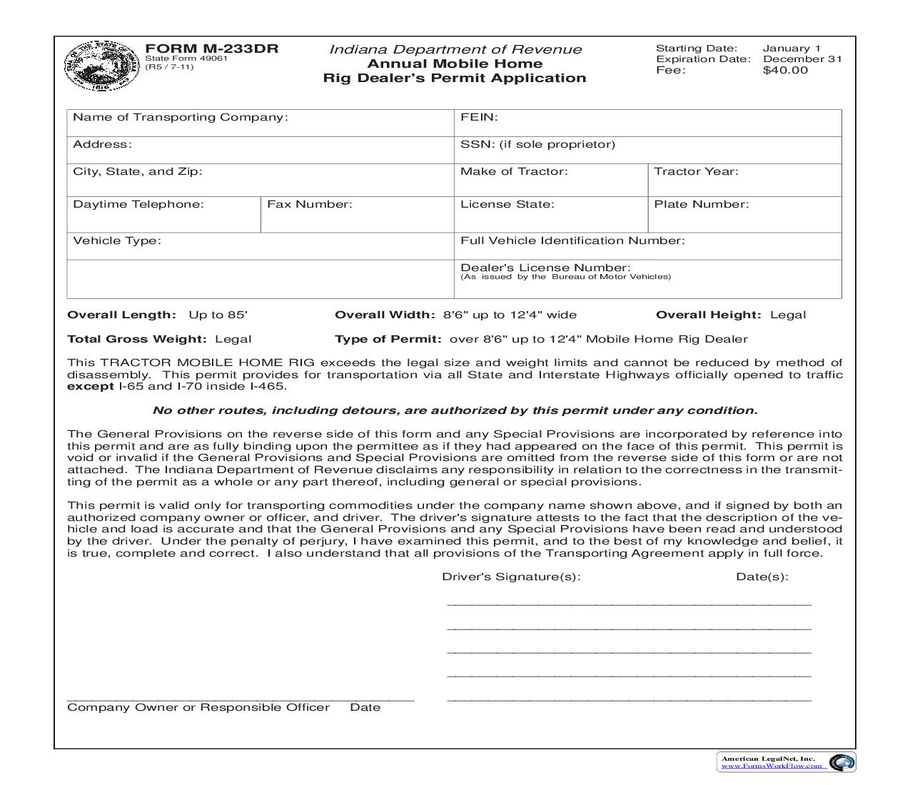 Annual Mobile Home Rig Dealers Permit Application {M-233DR} | Pdf Fpdf Doc Docx | Indiana