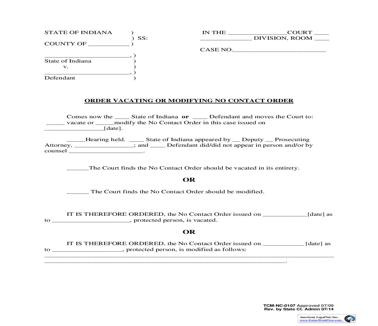 Order Vacating Or Modifying No Contact Order {NC-0107} | Pdf Fpdf Doc Docx | Indiana