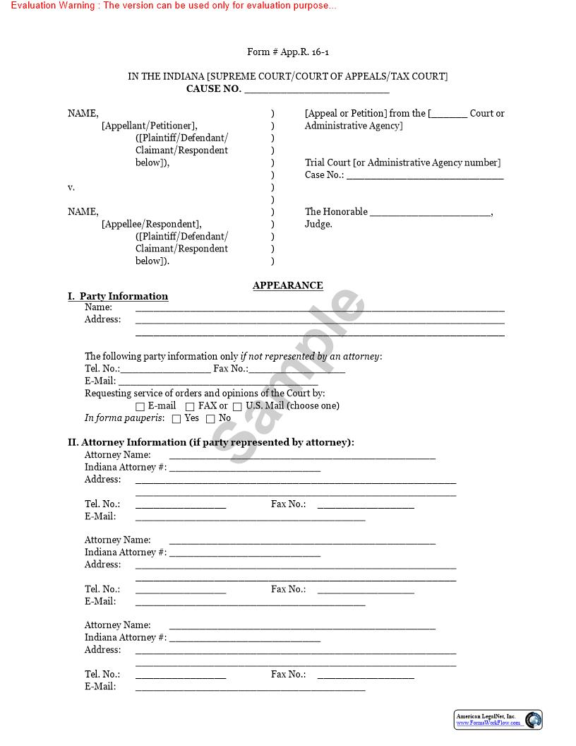 Apellees Notice Of Appearance (16-1} | Pdf Fpdf Doc Docx | Indiana