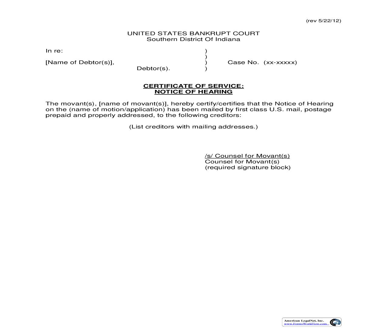 Certificate Of Service Notice Of Hearing   Pdf Fpdf Doc Docx   Indiana