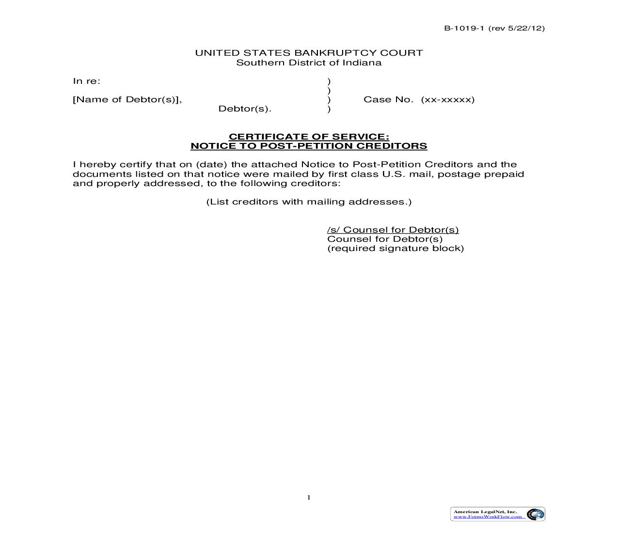 Certificate Of Service Notice To Post Petition Creditors | Pdf Fpdf Doc Docx | Indiana