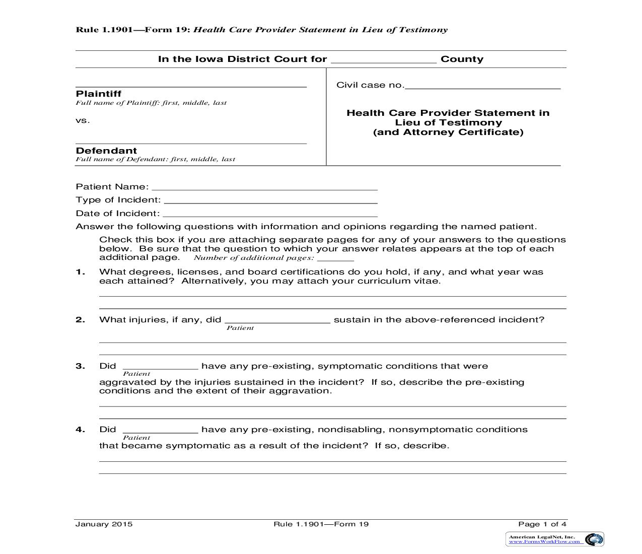 Health Care Provider Statement In Lieu Of Testimony (And Attorney Certificate) {Rule 1.1901 Form 19} | Pdf Fpdf Doc Docx | Iowa